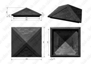 Колпак на столб 1,5х1,5 кирпича «Гибкая черепица» 385х385х43 черный