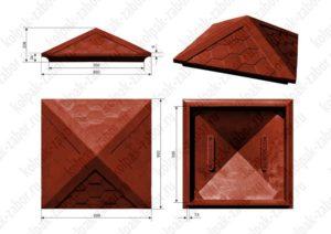 Колпак на столб 1,5х1,5 кирпича «Гибкая черепица» 385х385х43 красный
