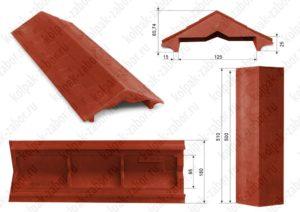 Парапет на забор в 1 кирпич «Гибкая черепица» 500х258х25 красный