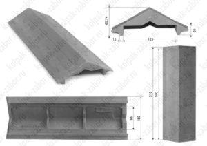 Парапет на забор в 1 кирпич «Гибкая черепица» 500х258х25 серый