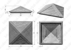 Колпак на столб 1,5х1,5 кирпича «Гибкая черепица» 385х385х43 серый