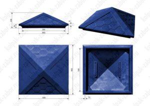 Колпак на столб 2х2 кирпича «Гибкая черепица» 535х535х43 синий