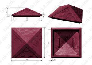 Колпак на столб 1,5х1,5 кирпича «Гибкая черепица» 385х385х43 вишневый