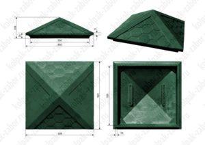 Колпак на столб 2х2 кирпича «Гибкая черепица» 535х535х43 зеленый