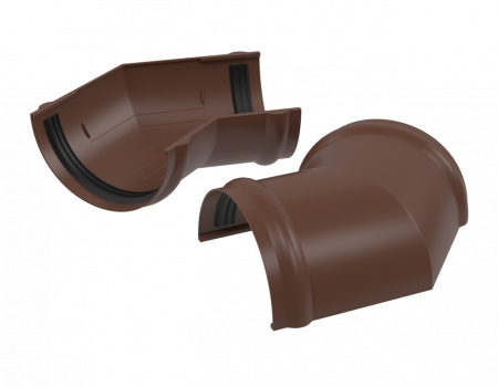 ПВХ угол желоба 135º, коричневый